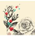Floral greeting card retro hand drawn roses with vector image