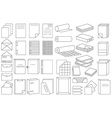 icons linear paper and folders vector image