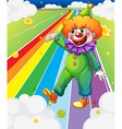 A clown standing in the colorful road vector image