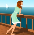 Beautiful woman on a seaside vector image
