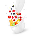 cup with fresh fruit and splash of milk vector image