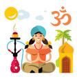 hindu woman with hookah flat style vector image