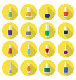 multicolored nail polishes flat icon set vector image