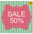 Vintage label 50 sale off on pastel stripe EPS10 vector image