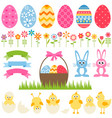 set of elements for easter design vector image
