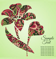 doodle flower lily zentangl drawing holiday card vector image