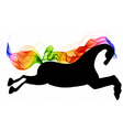 Beautiful running Horse black silhouette with vector image