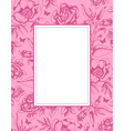 vintage pink background with frame and flowers vector image vector image