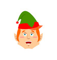 christmas elf happy emoji santa helper merry vector image