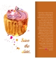 Cupcake with colorful shavings and cream vector image