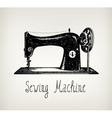 hand drawn retro vintage sewing machine vector image