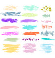 set of brush strokes in pastel colors vector image