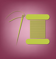 spool of thread and needle a symbol of fashion vector image
