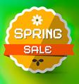 Spring Sale Orange Label on Green Bokeh Background vector image