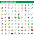 100 home icons set cartoon style vector image