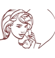 picture of beautiful woman with phone pin vector image