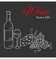 Wine bottle glass grapes and cheese vector image