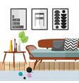 living room woodle furniture vector image