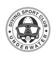 underwater diving sport club vintage logo black vector image