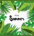 hello summer greeting card with palm leaves vector image