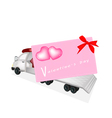 Tractor Trailer Flatbed Loading A Valentine Card vector image vector image