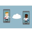 Two businessmen send information to cloud service vector image vector image