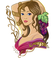 Girl with a bunch of grapes vector image