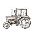 Farm tractor sketch Hand drawn vector image