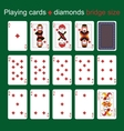 Playing cards Diamonds Bridge size vector image