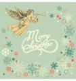 Retro Christmas greeting card angel and snowflakes vector image