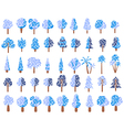 Flat trees in the snow in flat design vector image