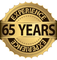 65 years of experience golden label vector image vector image