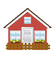 comfortable facade house with garden and wooden vector image