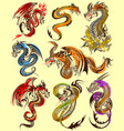 tattoo art design of furious dragon collection vector image
