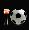 beautiful beer glass and soccer ball photo vector image