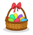 easter basket with painted eggs vector image