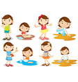 A young girls daily activities vector image vector image