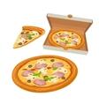 Whole pizza capricciosa in open white box and vector image