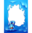 A blue border design with a sad monster vector image