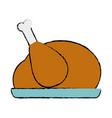 doodle delicious chicken food roast taste vector image