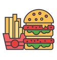 fast food burger and french fries concept line vector image