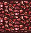 fresh cutting beef parts seamless pattern vector image
