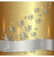 Golden Plate with Snowflakes and White Ribbon vector image
