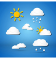 Paper Weather Icons - Clouds Sun Rain on Blue vector image