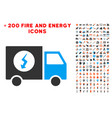 power supply van icon with bonus power set vector image