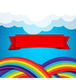 Red ribbon banner on rainbow clound and sky vector image