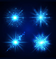 set of blue flash stars vector image