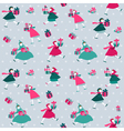 Christmas Background - Girls with presents vector image vector image