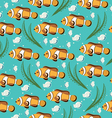 Colorful cartoon fishes seamless pattern vector image