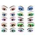 Set of womens eyes with a different makeup vector image